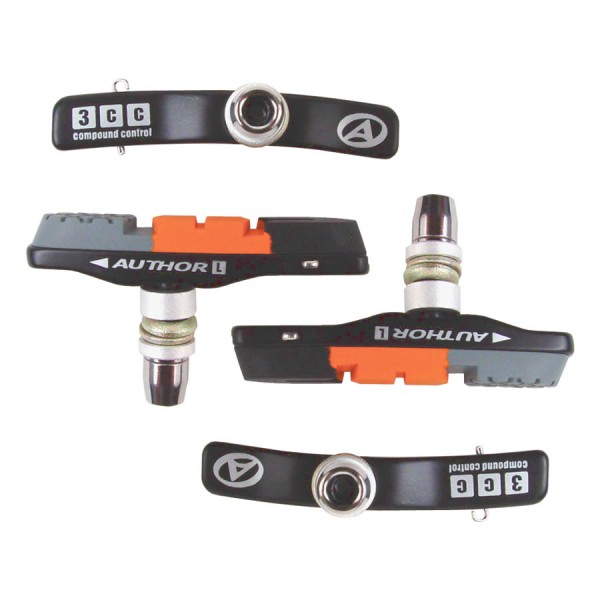 Fahrrad Bremsbeläge ABS-3CC Cartridge V-Brake 4 Bremsschuhe im Set (wechselbar)